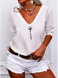 Regular Fitted Solid Basic Casual Long Sleeves