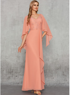 Sheath/Column V-neck Floor-Length Chiffon Evening Dress With Lace Sequins Cascading Ruffles