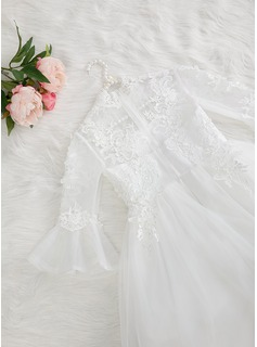 A-Line Asymmetrical Flower Girl Dress - Tulle/Lace Long Sleeves High Neck With Beading