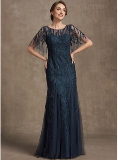 Trumpet/Mermaid Scoop Neck Floor-Length Tulle Lace Mother of the Bride Dress With Sequins