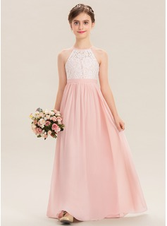 A-Line Floor-length Flower Girl Dress - Chiffon/Lace Sleeveless Scoop Neck