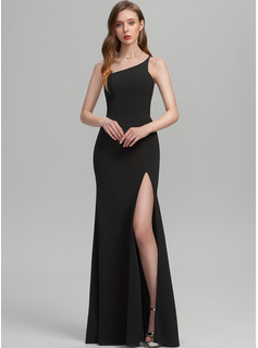 Sheath/Column One-Shoulder Floor-Length Stretch Crepe Prom Dresses With Split Front