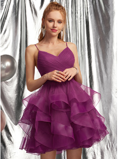 Ball-Gown/Princess V-neck Short/Mini Tulle Homecoming Dress