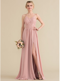 Sweetheart Floor-Length Chiffon Lace Prom Dresses With Split Front