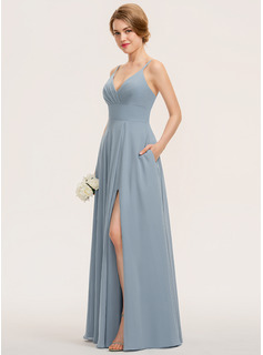 A-Line V-neck Floor-Length Chiffon Bridesmaid Dress With Ruffle Pockets