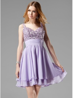 A-Line/Princess V-neck Short/Mini Chiffon Homecoming Dress With Ruffle Beading Sequins