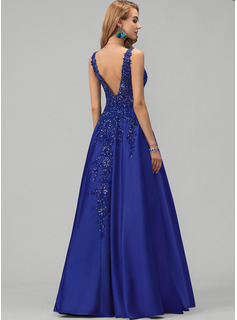 V-neck Floor-Length Satin Prom Dresses With Lace Sequins