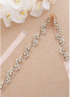 Nice/Exquisite Satin Sash With Rhinestones/Imitation Pearls