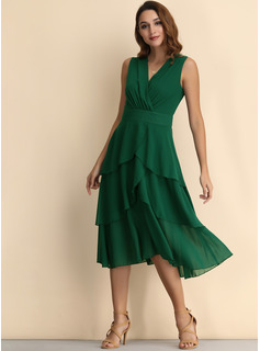 Chiffon With Crumple/Solid Midi Dress