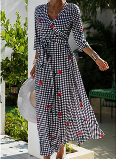 Floral Plaid Print A-line V-Neck Long Sleeves Maxi Casual Elegant Skater Dresses