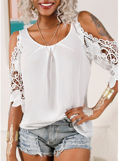 3/4 Sleeves Polyester Cold Shoulder Blouses