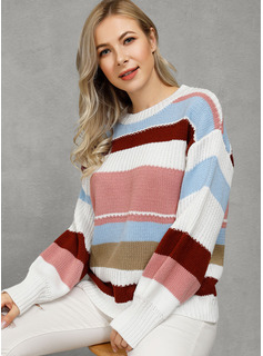 Color Block Ribbed Polyester Round Neck Pullovers Sweaters