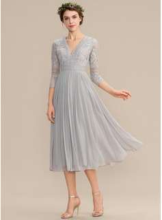 V-neck Tea-Length Chiffon Lace Bridesmaid Dress With Pleated