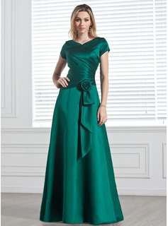 V-neck Floor-Length Satin Bridesmaid Dress With Ruffle Flower(s)