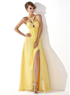 A-Line/Princess Sweetheart Floor-Length Chiffon Prom Dresses With Ruffle Beading Split Front