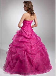 Ball-Gown Strapless Floor-Length Organza Quinceanera Dress With Beading Appliques Lace Sequins