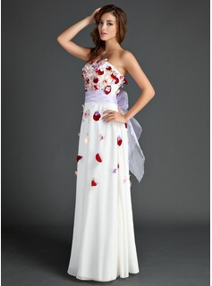 A-Line/Princess Strapless Floor-Length Chiffon Holiday Dress With Sash Beading Flower(s) Bow(s)