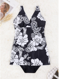 Elegant Floral Polyester Spandex One-piece
