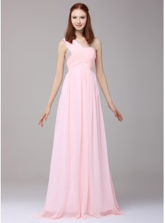 A-Line/Princess One-Shoulder Floor-Length Chiffon Holiday Dress With Ruffle Beading Sequins