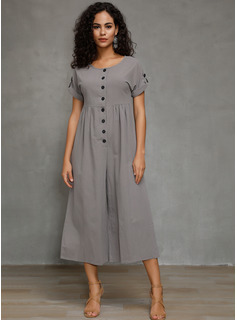 Linen With Button/Solid Midi Dress
