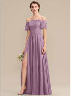 A-Line Off-the-Shoulder Floor-Length Chiffon Lace Bridesmaid Dress With Split Front