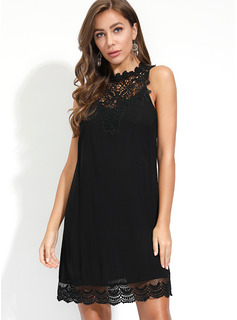 Cotton Blends With Lace/Button/Solid Above Knee Dress