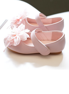 Girl's Round Toe Closed Toe Microfiber Leather Flat Heel Flats Flower Girl Shoes With Velcro Flower