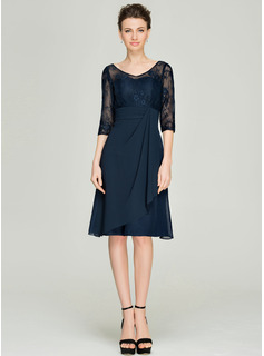 V-neck Knee-Length Chiffon Lace Mother of the Bride Dress With Cascading Ruffles