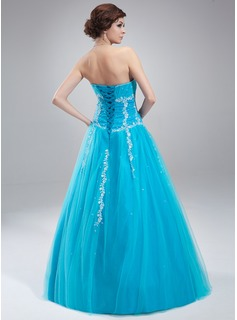 A-Line/Princess Sweetheart Floor-Length Tulle Quinceanera Dress With Beading Appliques Lace Sequins