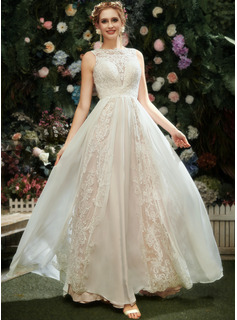 Scoop Neck Floor-Length Wedding Dress With Lace