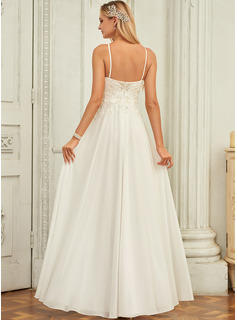 A-Line Scoop Neck Floor-Length Chiffon Lace Wedding Dress