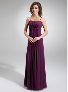 Empire Sweetheart Floor-Length Chiffon Bridesmaid Dress With Ruffle Flower(s)