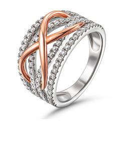 Infinity Two Tone Round Cut 925 Silver Women's Bands