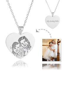 Custom Sterling Silver Heart Engraving/Engraved Tag Black And White Photo Engraved Heart Necklace Engraved Necklace Photo Necklace - Birthday Gifts