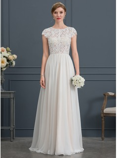 A-Line/Princess Scoop Neck Sweep Train Chiffon Wedding Dress