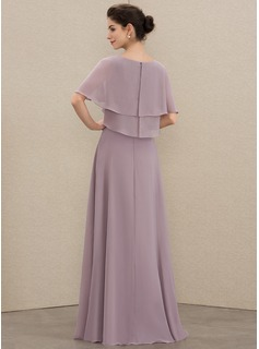 V-neck Floor-Length Chiffon Mother of the Bride Dress With Beading