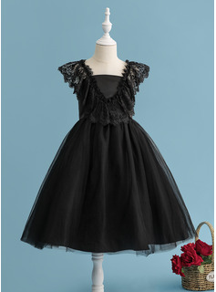 A-Line Tea-length Flower Girl Dress - Tulle/Lace Sleeveless V-neck With V Back