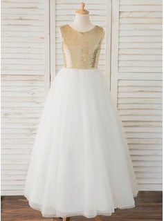 Floor-length Flower Girl Dress - Tulle Lace Sequined Sleeveless Scoop Neck With V Back