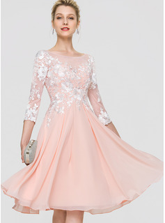 Scoop Neck Knee-Length Chiffon Cocktail Dress