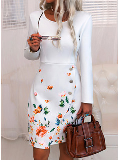 Floral Print Bodycon Round Neck Long Sleeves Midi Elegant Pencil Dresses