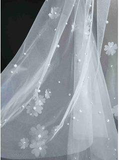 Two-tier Cut Edge Cathedral Bridal Veils With Applique/Rhinestones