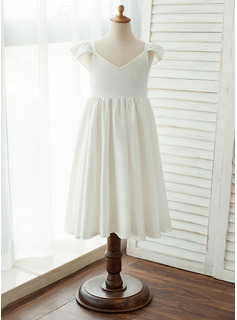 Tea-length Flower Girl Dress - Chiffon Satin Sleeveless V-neck