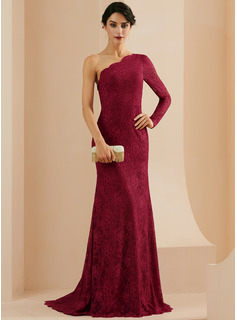Trumpet/Mermaid One-Shoulder Sweep Train Lace Evening Dress