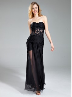 Trumpet/Mermaid Sweetheart Floor-Length Chiffon Evening Dress With Ruffle Beading Appliques Lace