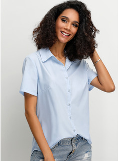 Manches courtes Polyester Col à Revers Chemisier Blouses
