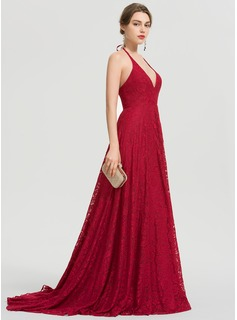 A-Line V-neck Sweep Train Lace Prom Dresses With Split Front