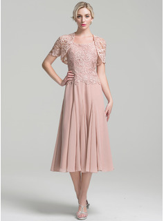 A-Line Square Neckline Tea-Length Chiffon Mother of the Bride Dress