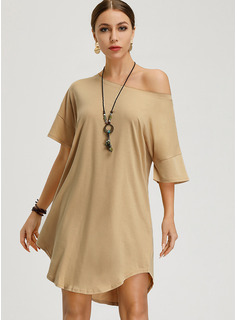 Polyester/Cotton With Solid Knee Length Dress