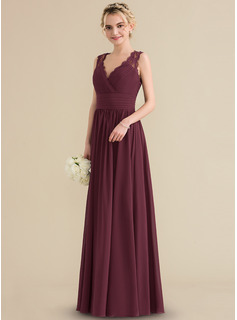 A-Line/Princess V-neck Floor-Length Chiffon Lace Bridesmaid Dress With Ruffle Bow(s)
