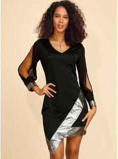 Sheath/Column V-neck Short/Mini Polyester Cocktail Dress